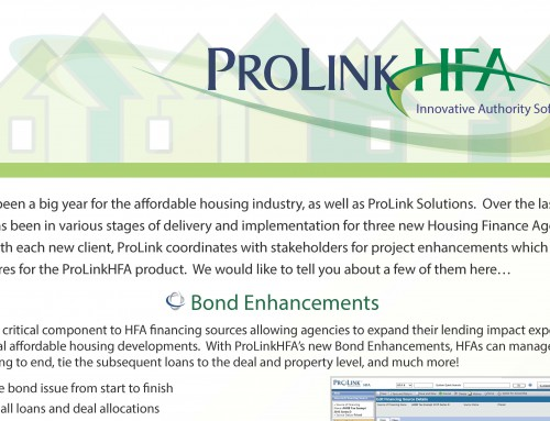 ProLinkHFA Announces Bonds Enhancements, Grant Enhancements, Diversity Compliance and Insurance Enhancements